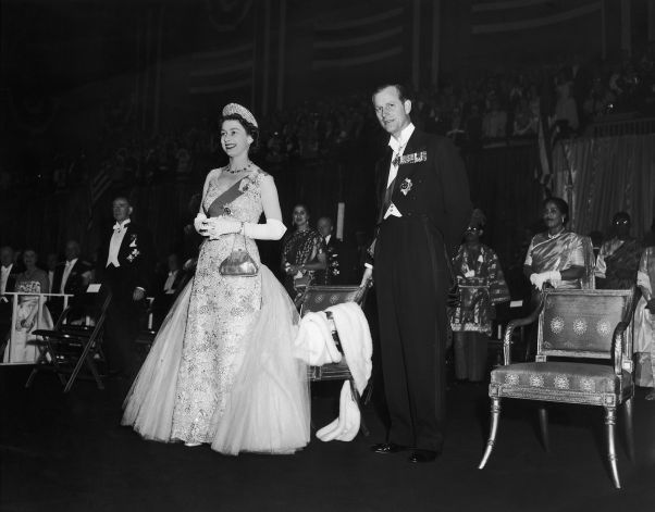 timesunion:  Royals in the USA-Queen Elizabeth and the Duke of Edinburgh at the Commonwealth Ball, 77th Regent Armory, New York, 1957