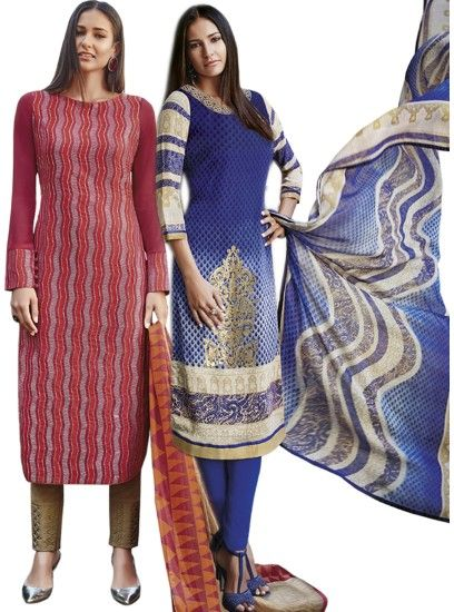 Graceful Printed Crepe Straight Cut Style Maroon & Blue Combo Suit D.No.- 6544,6547