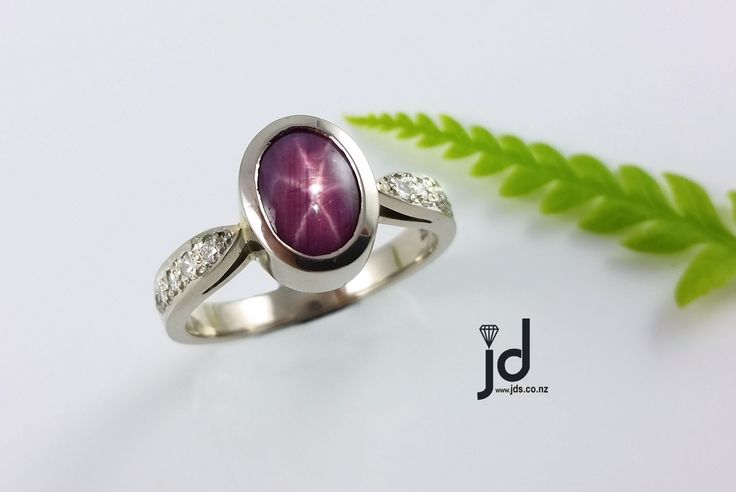 Pink Star Ruby | Ring | White Gold | Exclusive | Diamonds | www.jds.nz