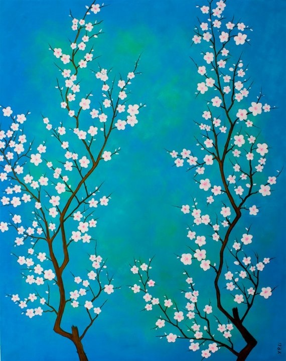 Huge Abstract Modern Original Oil Painting Cherry Flower Landscape Wall Decor 24x30 ---Rising In Blue