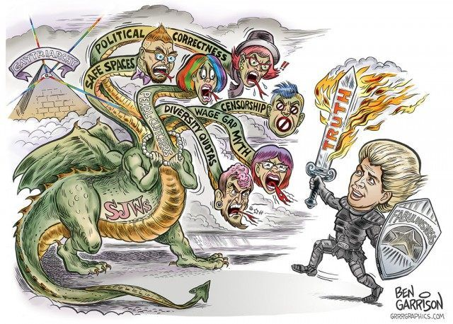 """garygibbon: """" St. Milo Yiannopoulos vs the left-wing hydra, by Ben Garrison. Here's hoping he can slay the beast. """" Milo and his team were great to work with, hopefully they will commission more Ben..."""