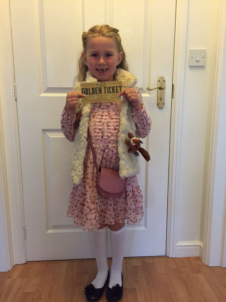 Veruca Salt costume, print off and laminate a Golden ticket, then get a couple of small soft toy squirrels and sew on a furry waistcoat...simple and quick to do for any book day at school.