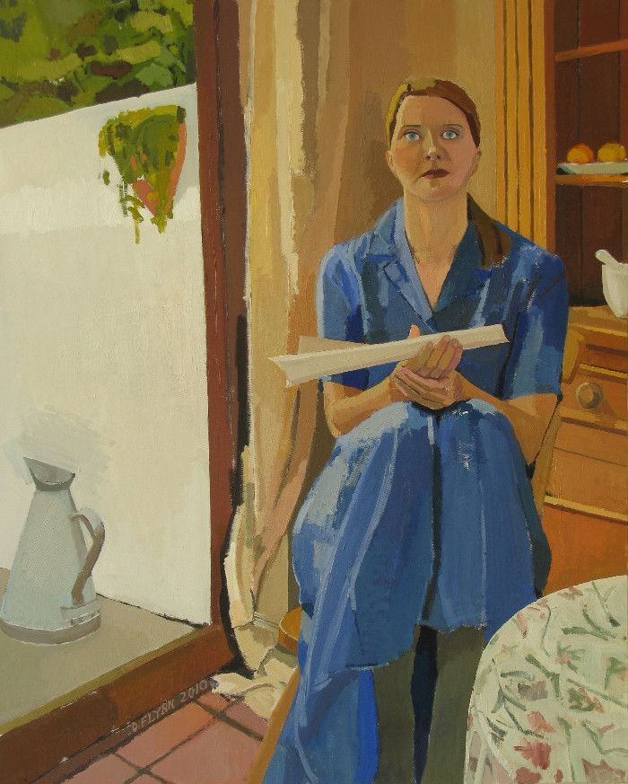 Mary, Seat of Wisdom. Oil on canvas. 124cm x 94 cm. Commissioned by and in collection of University College Dublin Chaplaincy.  I wanted the painting to be somehow contemporary and traditional at the same time. The inspiration and model is my wife, Annette, sitting in our kitchen, but naturally, this is not a portrait of her, but a starting point to something else. I tried to give the image some elements of Mary's being and life: the profound and the everyday; wisdom and simplicity…