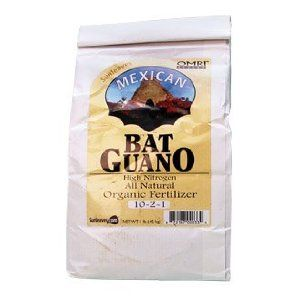 Sunleaves Mexican Bat Guano 1lb. Bag - OMRI listed Organic by Sunleaves. $12.95. Eco-friendly harvesting. High nitrogen formula. NPK (10-2-1). Increases soil porosity. Adds active micro-organisms to soil. High nitrogen Sunleaves Mexican Bat Guano (10-2-1) brings important nutrients to plants and adds active micro-organisms to soil. These tiny organisms unlock nutrients bound up in the soil and break down the compounds in the guano, releasing major soluble and trace nutr...