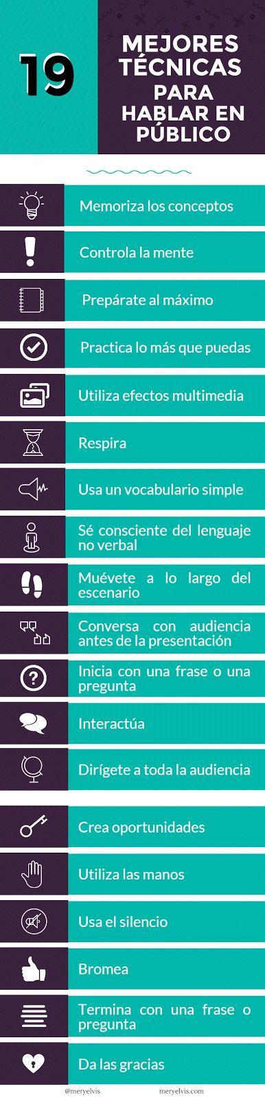 19 técnicas para hablar bien en público [Infografía] | Valeria Landivar
