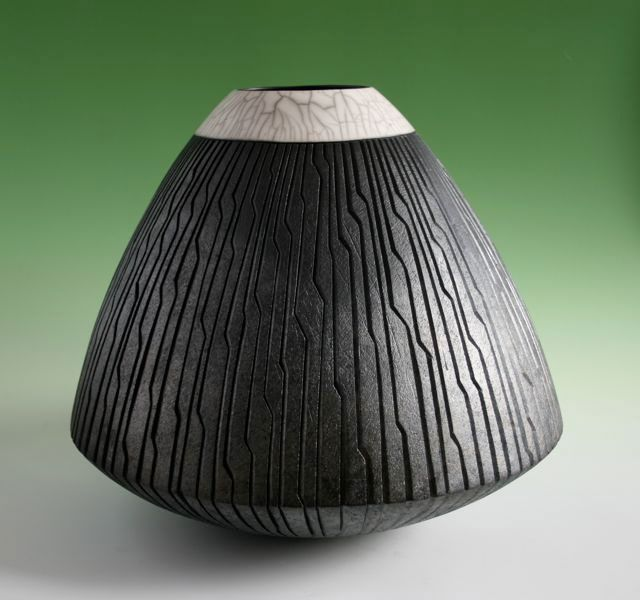 Ashraf Hanna, Angular Carved Raku Vessel - height 52 cms