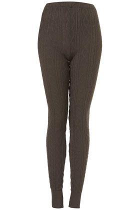 KHAKI CABLE KNIT LEGGINGS    Price: $44.00: Khakis, Khaki Cable, Leggings Price, Knit Leggings, Cable Knit, Topshop Lust, Sweater Leggings, Knits