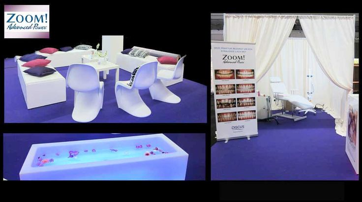 "Beursstand ontwerp en inrichting | LEd meubels, witte pipe and drape, paars projecttapijt, beursstand voor \""Teeth whitening\"", purple, teeth, stand"
