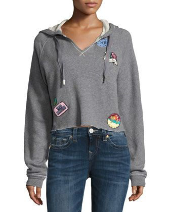 Pullover+Hoodie+with+Patch+Appliqués,+Heather+Gray+by+True+Religion+at+Neiman+Marcus.