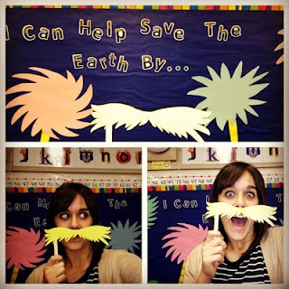 cute! maybe we will do Friday and do a photobooth shoot! :) Lorax Mustache Craft...Dr. Seuss week in the classroom!