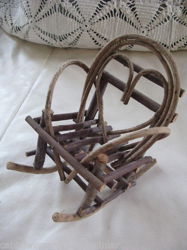 Vintage Primitive Miniature Adirondack Twig Heart Wood