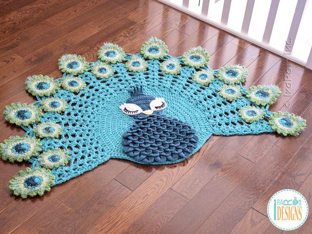 Ganchillo PDF patrón para hacer una hermosa alfombra animales pavo real o la lectura de la estera utilizando la puntada de cocodrilo