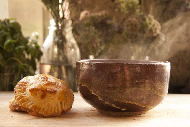 ... hazelnut manchego hand pies with chunky mushroom barley soup