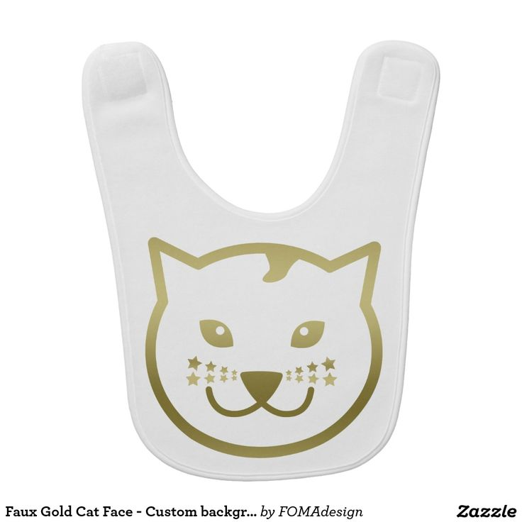 Faux Gold Cat Face and Stars - Custom background color Baby Bib, by FOMAdesign