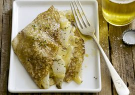 Crepes With Sautéed Pears, Aged Gouda and Fresh Thyme | Oregonian Recipes