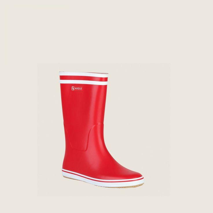 bottes caoutchouc rouge/blanc malouine femme - aigle 2