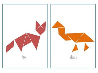Printable Animal Tangram Puzzle Booklet - with or without outlines - print both to play memory with them