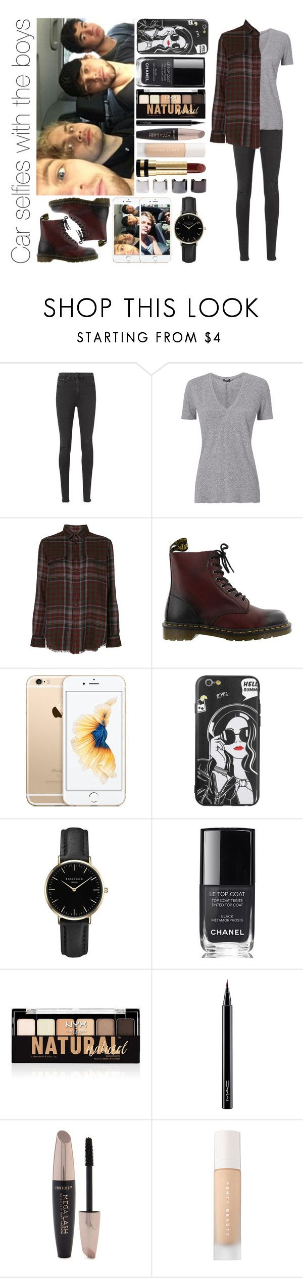"""Car selfies with the boys"" by michaelssmile ❤ liked on Polyvore featuring GET LOST, rag & bone/JEAN, Monrow, Polo Ralph Lauren, Dr. Martens, ROSEFIELD, Chanel, NYX, MAC Cosmetics and Forever 21"