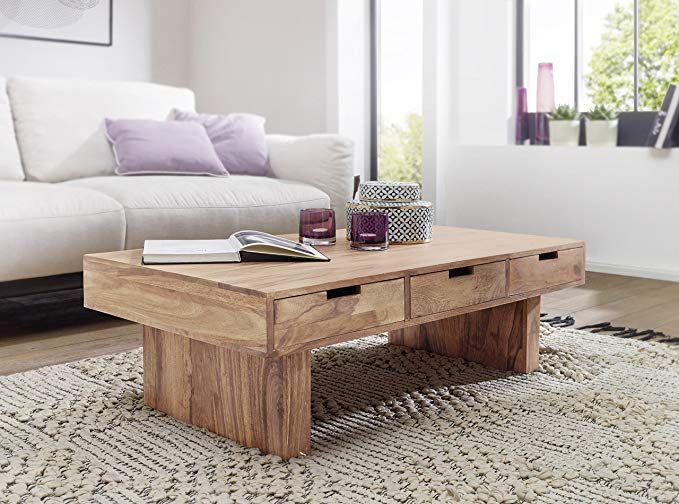 WOHNLING Couchtisch Massivholz Akazie Design Wohnzimmer-Tisch 110 x ...