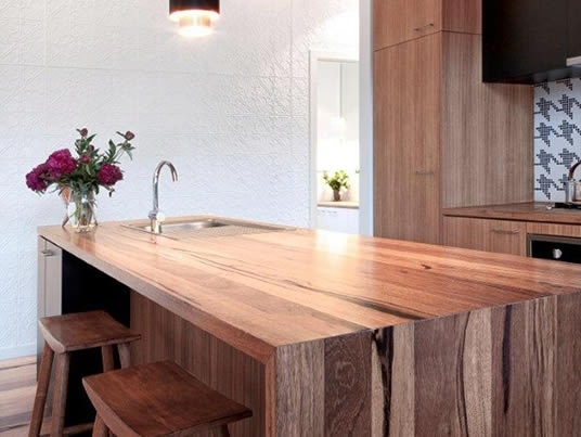 Island Bench Designs sexy waterfall timber island bench | kitchen concepts | pinterest