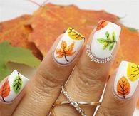 White Thanksgiving Leaf Nails