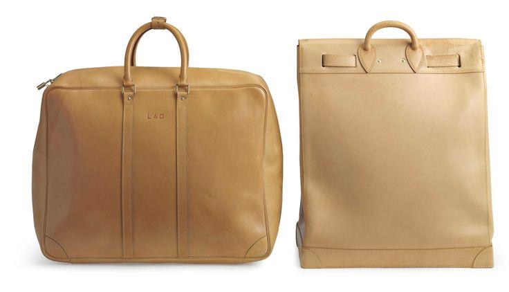 Un insieme di due; NATURALE Vachetta PELLE STEAMER 45 e SIRIUS 55 BORSE VIAGGIO Christie Handbag negozio