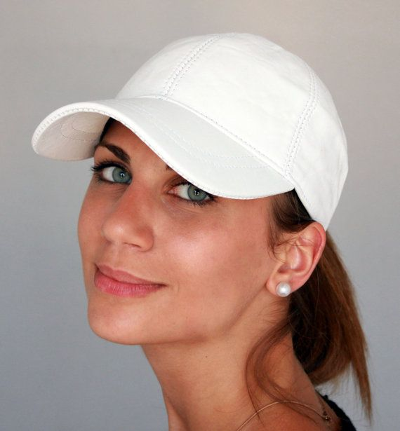 Handmade white unisex leather ball cap