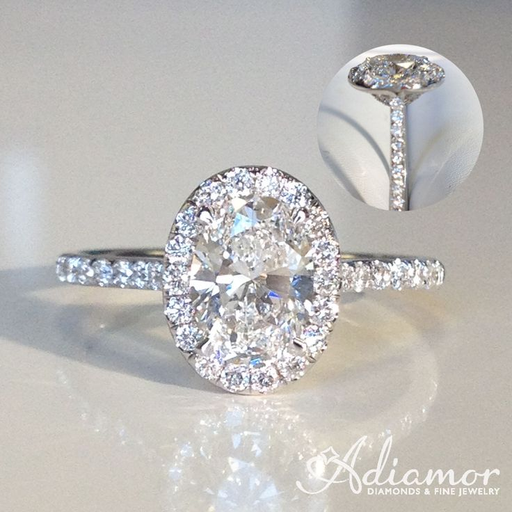 An oval cut diamond will stand out in our French cut halo setting R2965!