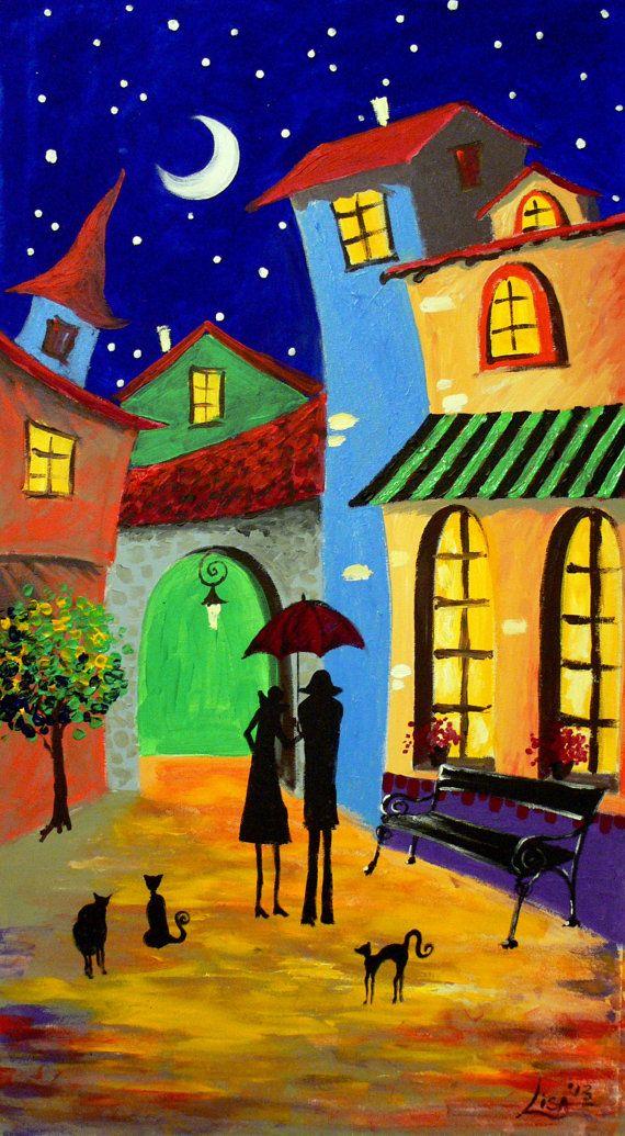 Original pintura noche estrellada en el por ArtonlineGallery
