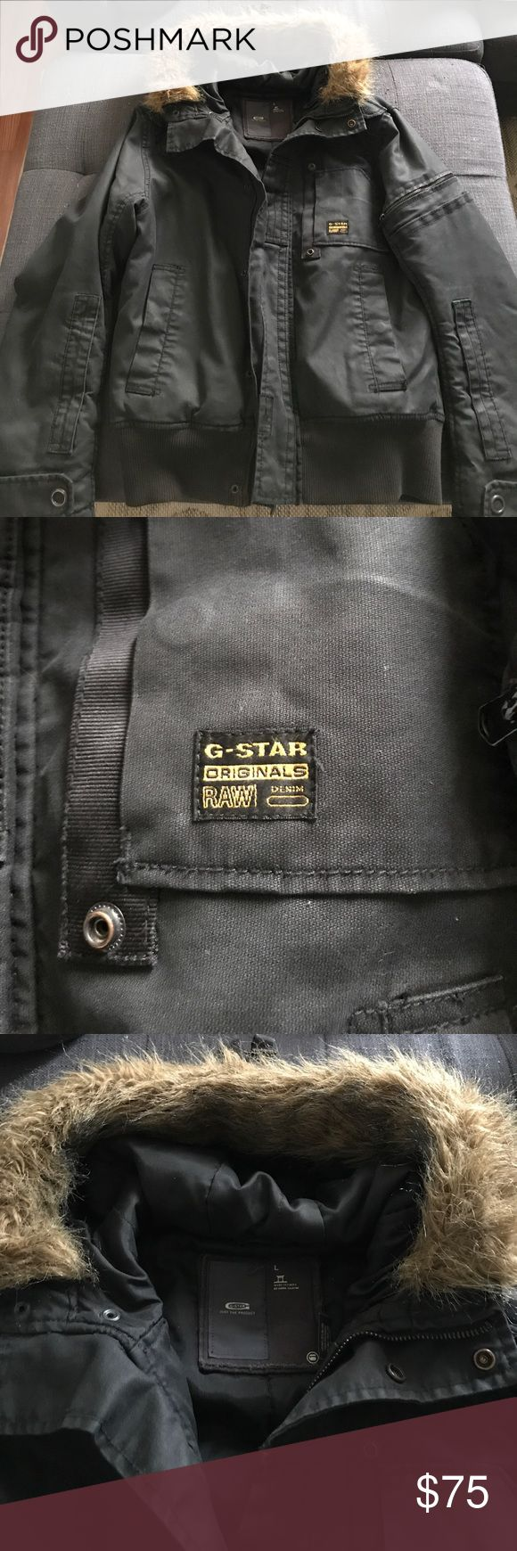 G-Star Parka G-Star navy parka with faux fur hood - worn but in good condition G-Star Jackets & Coats Ski & Snowboard