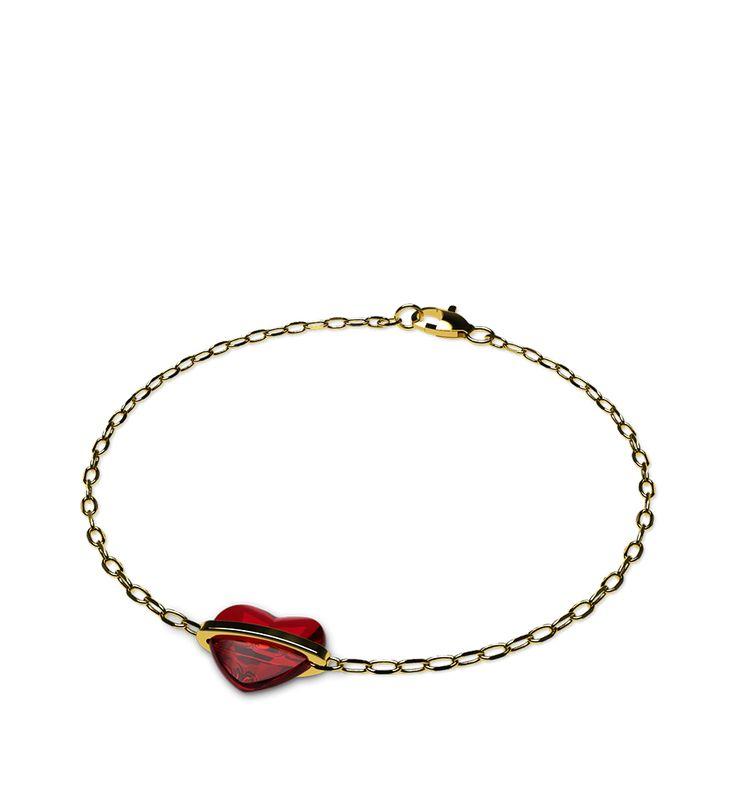 """""""Corazón Prendado"""". Diseño exclusivo para SAN VALENTIN.  Pulsera formada por un precioso corazón engarzado en una cadena de oro amarillo"""