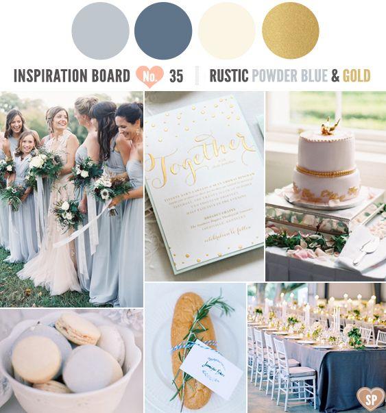 Rustic Powder Blue, Cream and Gold Inspiration Board