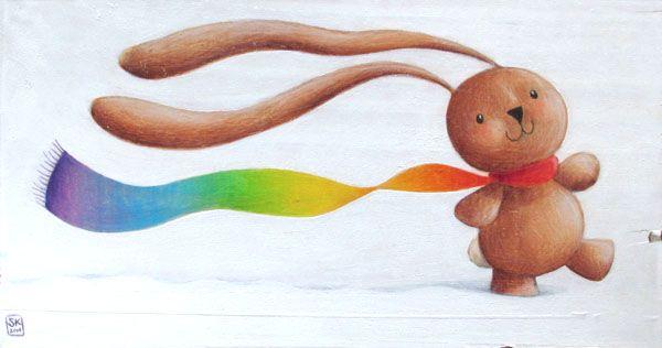 Rainbow scarf. Bunny Ciacio illustration on wood
