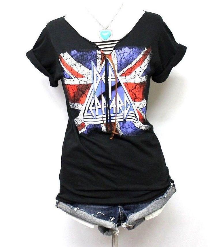 Def Leppard Cut Out Knots V Neck Shirts by Julia  (Handmade) #Handmade #RockRoll