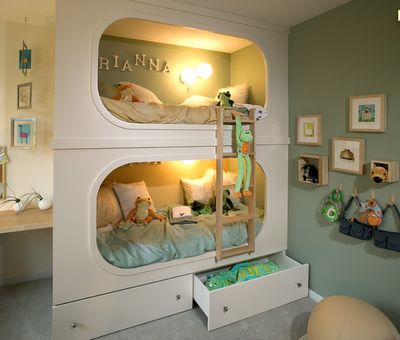 Love these bunk beds but with cupboards next to the bed so that they are flush against the wall.