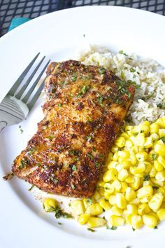 Cod filets are rubbed with a flavorful spice mixture before roasting to perfection.  Top it off with a delicious lime-butter sauce and serve over brown rice and sweet corn for a fantastic weeknight meal! I'm always looking for great ways to enjoy fish tha