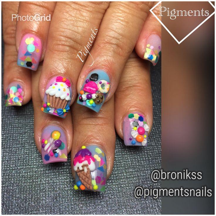 Nail Art / Nail Design IG & FB Pigments Nails @pigmentsnails @bronikss - Best 25+ Cupcake Nail Art Ideas On Pinterest Cute Kids Nails