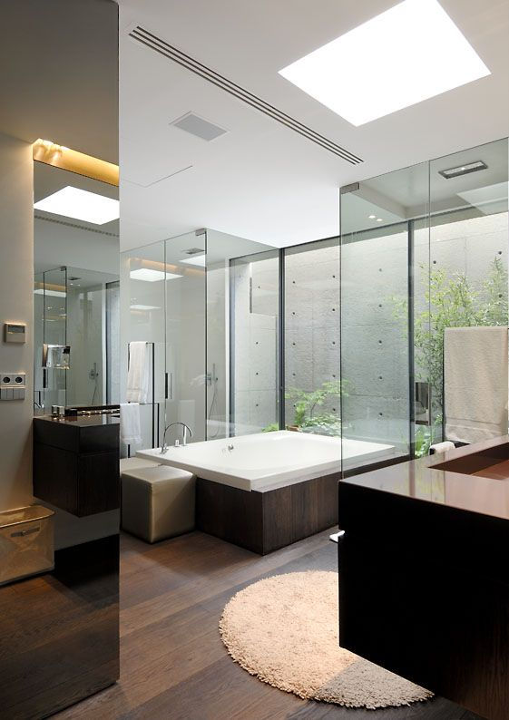 modern architecture - a-cero - concrete house - somosaguas - madrid - spain - interior view - bathroom