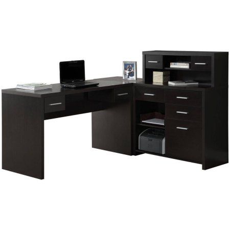 Monarch Hollow Core L Shaped Home Office Desk with Hutch in Cappuccino, Brown