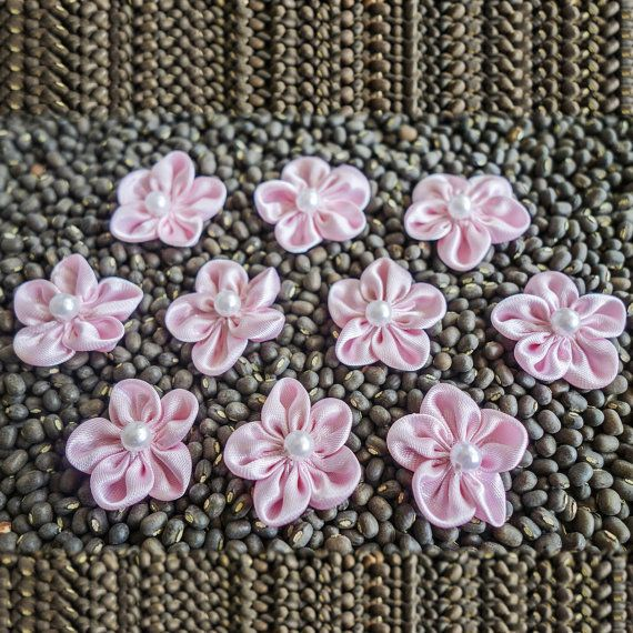 Pink small Shiny Gathered Woven Ribbon Flower with by ColourCocoon