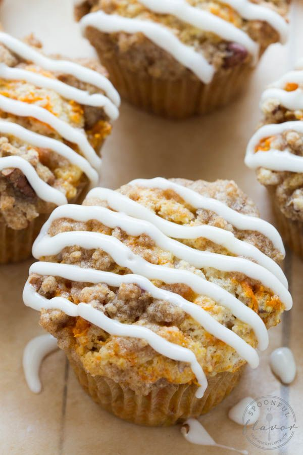 Carrot Coffee Cake Muffins with Cream Cheese Icing