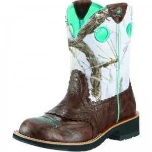 Ariat Womens Crinkle Camo Fatbaby Cowgirl Boot