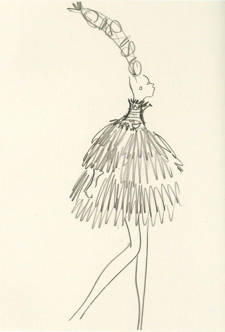 Yves Saint Laurent, sketch, Spring Summer 1967