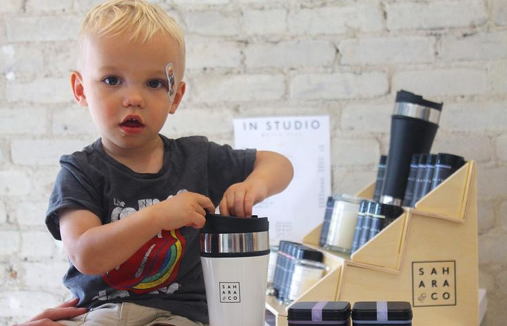 Our youngest customer came in yesterday to test out our new travel tumblers & grab a tin of Pink Paloma!  If you're close to our HQ drop by 10am-4pm Mon-Fri to say hi and get exclusive in-studio deals #saharatea #saharandco