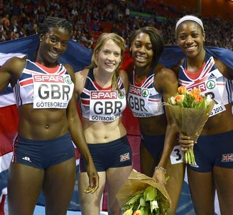 Sports Women Britain's Christine Ohuruogu, Eilidh Child, Perri Shakes-Drayton and Shana Cox