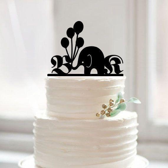 Elephant cake topper for weddingmonogram cake by Muggses on Etsy