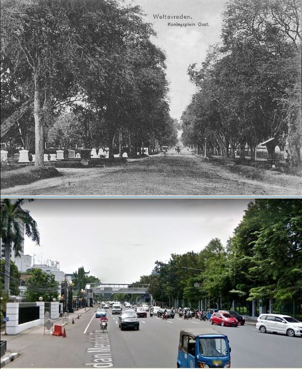Weltevreden, Koningsplein Oost, circa 1890, ,.,  Jl Merdeka Timur, Jakarta, 2016