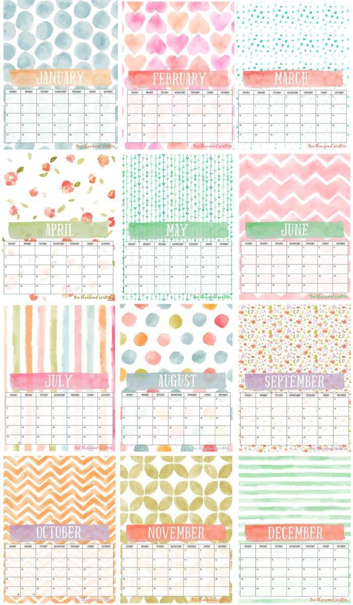 2016 Libre para imprimir calendario de la foto y tarjeta de pantalla de bricolaje |  12 meses calendario perfecto de la acuarela para sus fotos |  visualizar fácilmente en una de estas tarjetas.