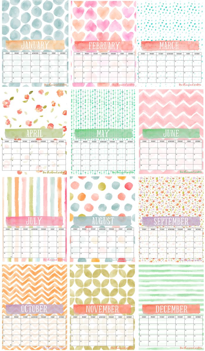 2016 Free Printable Photo Calendar and DIY Display Board | 12-month watercolor calendar perfect for your photos | Easily display on one of these boards.