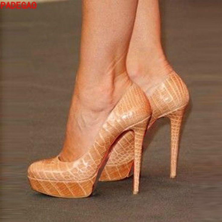 PADEGAO+Elegan Women Shoes 2017 High Heels 12.5cm Waterproof 2.5cm Party Wedding Shoes for Women Lady Shoes Plus Size